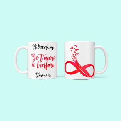 mug amour infini rouge cadeau amoureux baby no soucy