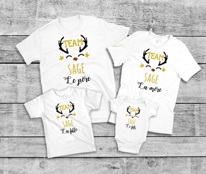 pack famille sage tee shirt et body